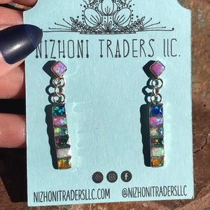 Zuni Sterling Multi Color Opal Dangle Earrings